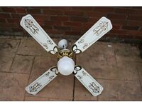 Ceiling Fan with Light. White with brass fittings.