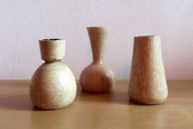 Set of 3 wooden candlestick £10