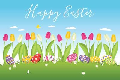 Happy Easter Eggs in Grass Tulips Art Print Mural Poster 36x54 inch