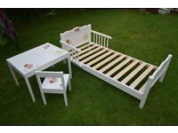 children bed yunior white wooden decoupage style and table with chair ikea