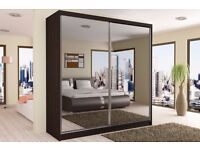 BRAND NEW HIGH QUALITY MIRROR WARDROBE (12 SHELVES & 2 HANGING RAIL) 203 CM WIDTH , 4 COLORS