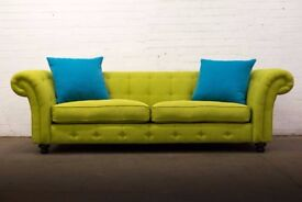 SUPERB DFS LIME GREEN FABRIC CHESTERFIELD LARGE 3 SEATER SOFA *FREE UK DELIVERY*