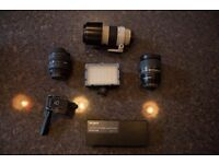 LENSES, LAV MIC AND LIGHT FOR SALE