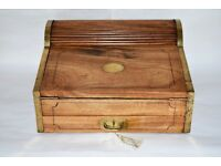 LARGE WRITING SLOPE 19TH CENTURY CHINESE TAMBOUR CAMPAIGN LAP DESK