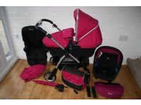 Silver Cross Wayfarer pram pushchair with car seat 3 in 1- Pink Raspberry ***can post***