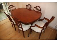 Top Quality Burr Walnut Dining table and matching Hepplewhite-style chairs