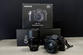 Fujifilm Fuji X-T1 XT1 Digital Camera with 56mm and 23mm Fuji Lenses