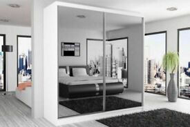 Sale On Furniture-BERLIN 2&3 SLIDING DOORS WARDROBE IN 5 SIZES & IN MULTI COLORS-CALL NOW