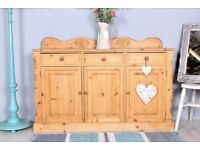 DELIVERY OPTIONS - SOLID PINE SIDEBOARD QUALITY MADE TONGUE & GROOVE WAXED LIGHT IN COLOUR