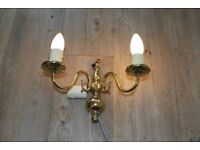 PAIR OF VINTAGE 2 ARM FRENCH BRASS WALL LIGHTS
