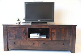 Dark Stained Mango Wood TV Unit/Cabinet/Media Unit (162cm wide) - £150