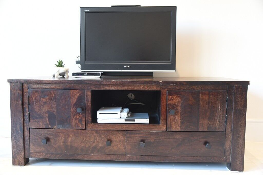 outlet store 03fba 37880 Dark Stained Mango Wood TV Unit/Cabinet/Media Unit (162cm wide) - £150 | in  Raynes Park, London | Gumtree