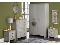 Lancaster Bedroom GREY 4 Piece 3 Door Wardrobe Drawers Chest and Bedside Table Set