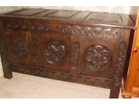 BEAUTIFUL OLD SOLID OAK COFFER/CHEST
