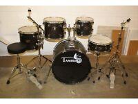 Tamburo Ash Series Transparent Black 5 Piece Full Drum Kit (22 inch Bass) + Stands + Stool + Cymbals