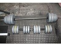 Vinyl 65kg weights set - barbell and pair of dumbells / dumbbells