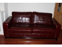 FAUX LEATHER MAHOGANY COLOUR LEATHER LARGE TWO SEATER SOFA