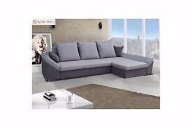 Brand New Modern Fabric Corner Sofa Bed VERONA With Storage Box - Left Right Hand
