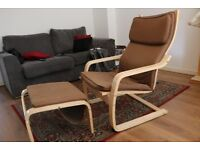 IKEA Poang Armchair + Foot Stool in good condition. Super comfortable