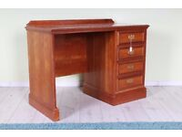 ANTIQUE STYLE DESK WITH 4 DRAWERS BRASS HANDLES - CAN DELIVER