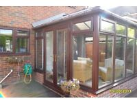 upvc conservatory approximately 3.2M x 3.2M brown three sided bought as project