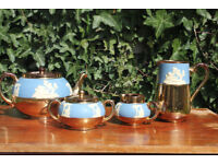 Vintage Gibson and Sons Tea Set Wedgwood jasper Style Teapot Milk Jug Creamer Sugar Bowl