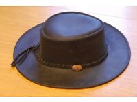 Mens Rydale Genuine Leather Fedora Hat - Large - Like New