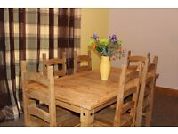 Mexican pine 6ft dining table and 6 chairs