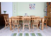 DELIVERY OPTIONS - 7 FT SOLID PINE FARMHOUSE TABLE 8 CHAIRS INC 2 CARVERS WAXED