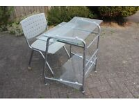 Desk and wheeled chair - computer desk (BS quality hardened glass)