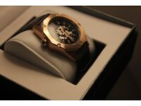 ROTARY MEN WATCH AUTOMATIC SKELETON DIAL ROSE GOLD STAINLESS STEEL ***L@@K***