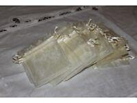 NEW - 100 Cream Organza Bags 7cm x 9cm