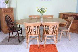 SOLID PINE EXTEND COTTAGE STYLE TABLE & 6 CHAIRS INCL 1 CARVER - CAN COURIER