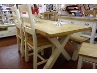 New Dining table & chair sets oak pine glass white grey etc. 30+ to choose from in store £75-£1299