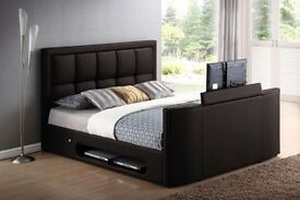 Black Leather Tv Bed Brand New
