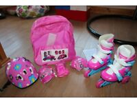 Girls skates with accessories pack. Hardly used. RRP Smyths £29.99