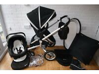 Black Silver Cross Surf 2 pram with car seat 3 in 1 *can post*