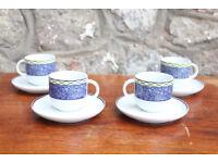 Set of 4 Italian Tognana Espresso Coffee Cups & Saucers Porcelain Espresso Cup Demitasse Tasse