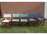 Set of 5 folding canvas garden / patio chairs