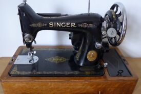 Vintage 1940 Singer Sewing Machine No 99, with MOTOR, HAND-CRANKED FITMENT + extras and instructions