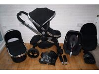 iCandy Peach 3 pram travel system with car seat 3 in 1 - Black Magic CAN POST