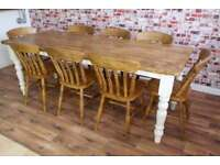 Rustic Farmhouse Reclaimed Wood Kitchen Dining Table Set - Range of Sizes!