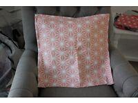 Ikea 'Brakig' Peach Orange Cushion Throw Pillow Cover Geometric Hexagon Graphic
