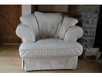 Used Leather Armchair With Matching Storage Foot Stool Large Cream Colour