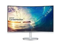 """Samsung C27F591 27"""" Advanced Curved LED Monitor - White/Silver"""