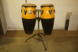 Roland Meinl Duo Series Congas Wood / Fibreglass Amber / Black Lacquered on Stable Stand - £375 ono