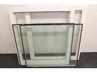 2 x 900mm square fixed glass windows