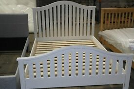 NEW WHITE SOLID WOOD DOUBLE BED........
