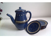Dark blue glazed tea / coffee set