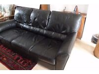 SOFA: Black leather,3 seater. Free for collection. Durham Gilesgate